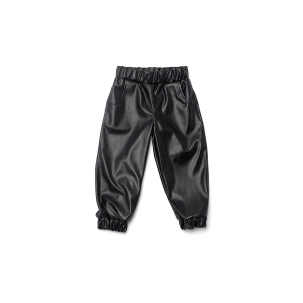 OMAMImini Black Faux Leather Joggers