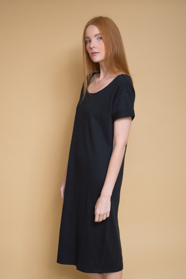 Ali Golden Roll Sleeve T-Shirt Dress / Black