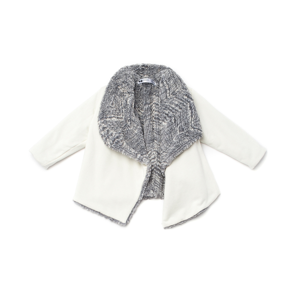 OMAMImini Grey Draped Jacket with Faux Fur