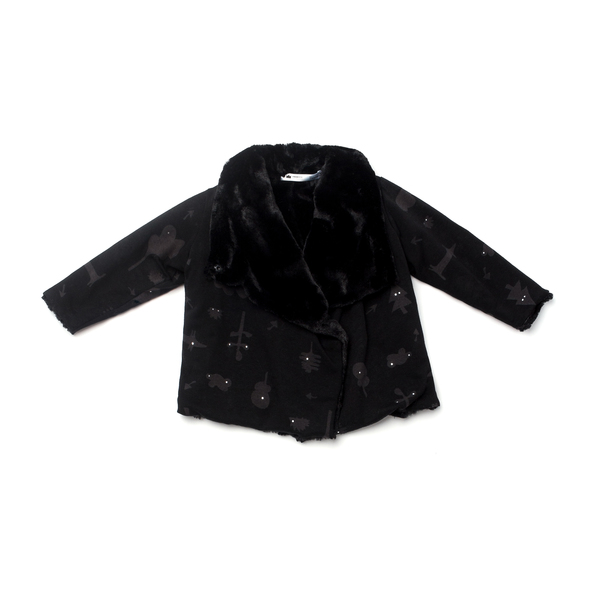 OMAMImini Black Secret Forest Draped Jacket with Faux Fur