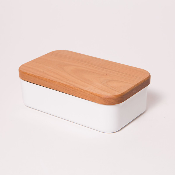 KAICO Enamel & Wood Covered Butter Case