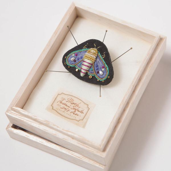 Azumi Sakata Moth Brooch, Black - Small