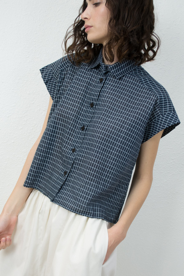 Micaela Greg Grid Piece Sleeve Button Up