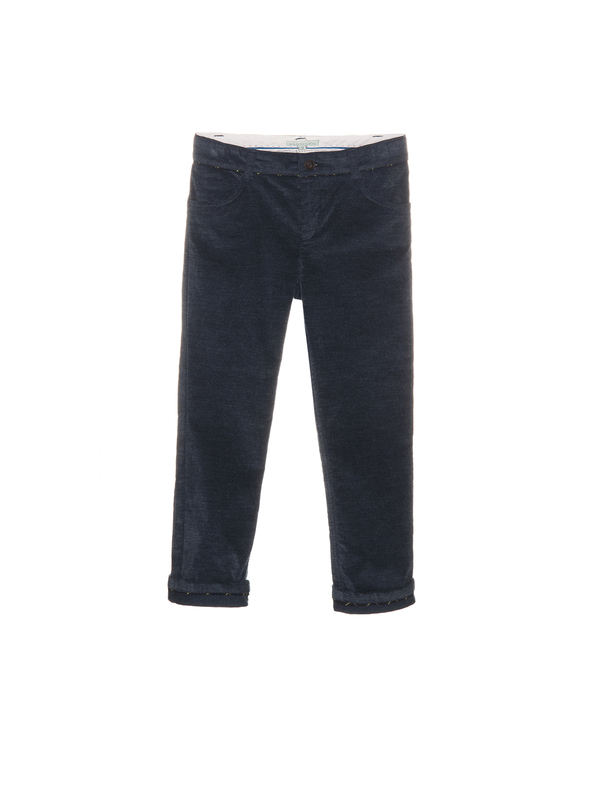 Nanos Stormy Blue Brushed Cotton Pants - Coucou Boston