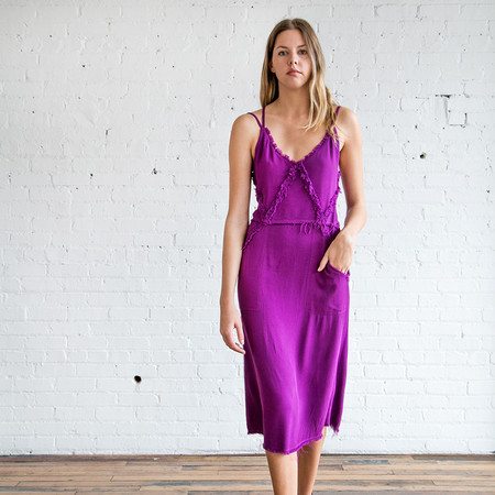 Raquel Allegra Diamon Slip Dress Fuchsia