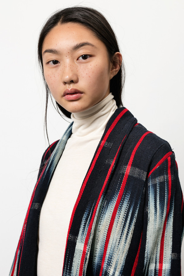 Osei-Duro Theca Coat in Handwoven Indigo Ikat