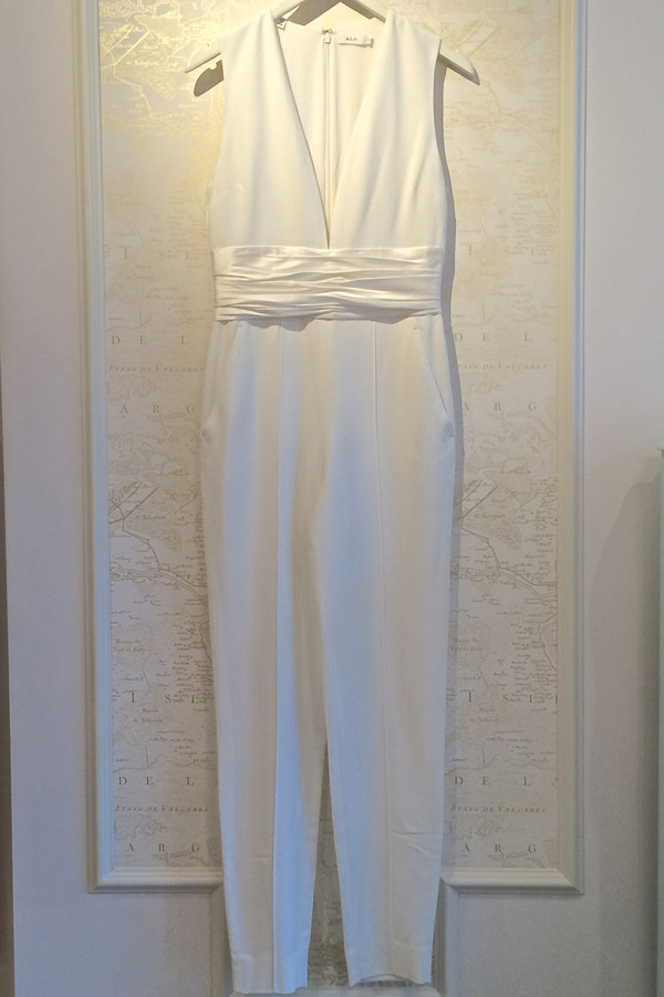 A.L.C. 'Beni' V-Neck Satin Belt Jumpsuit