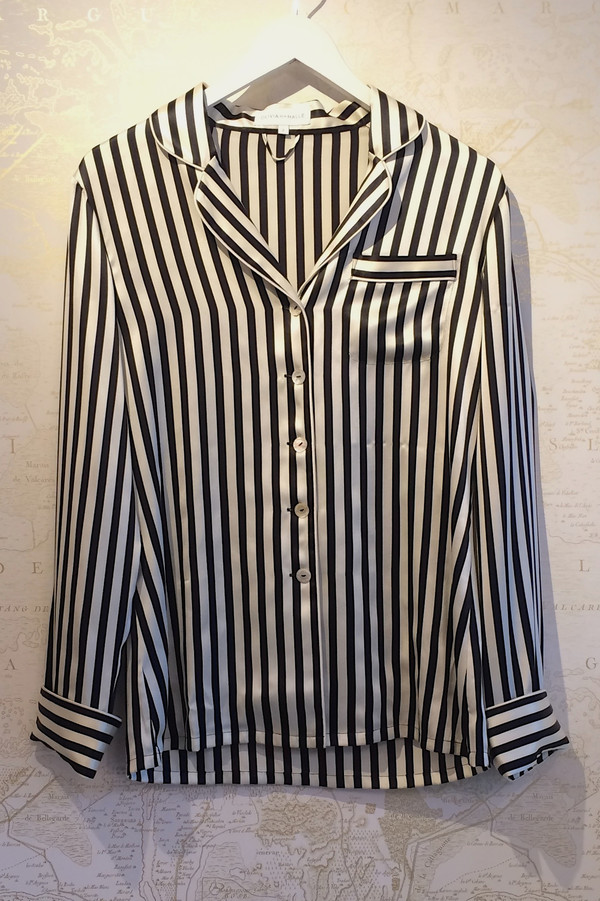 Olivia Von Halle Silk Stripe Pyjama Set