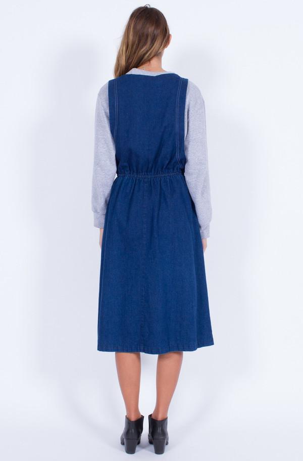 Yo Vintage! DENIM PINAFORE DRESS (MED-LARGE)