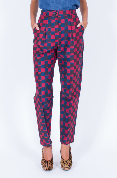 Dusen Dusen DOUBLE CHECK PLEATED PANTS