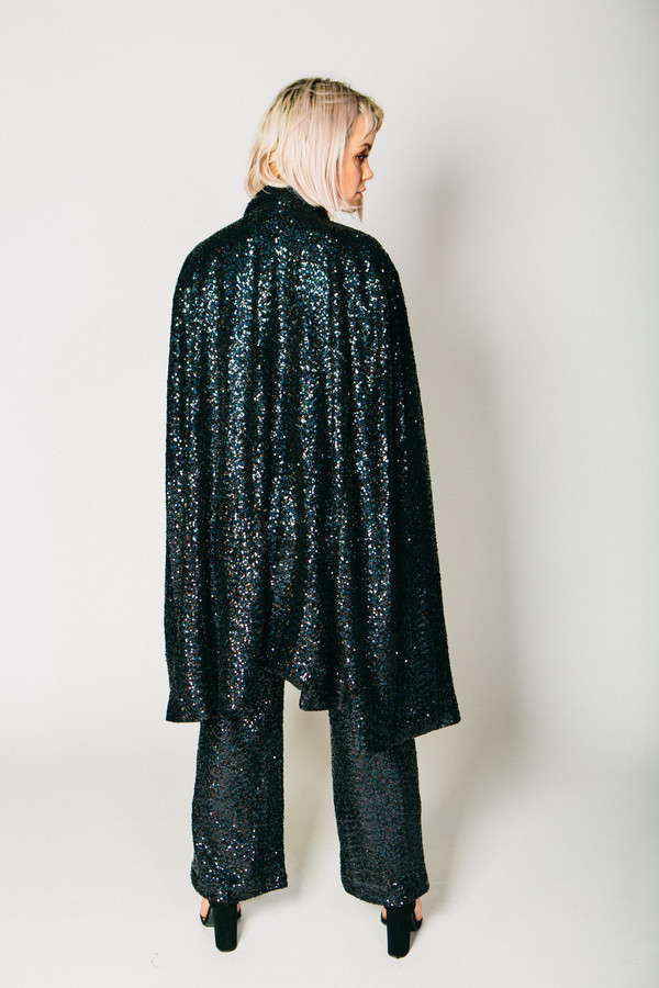 Any Old Iron Black Sequin Cape