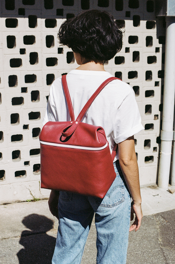Kara Large Backpack - pebbled red