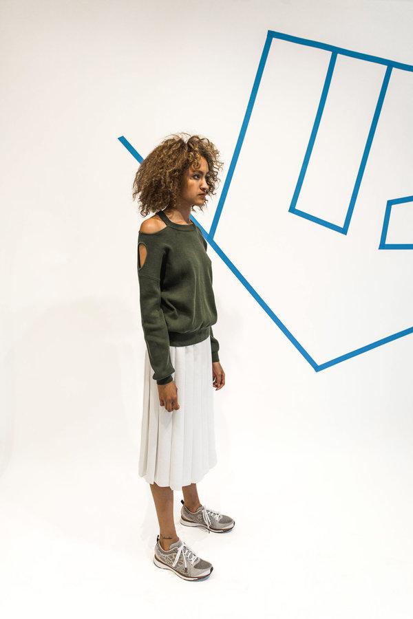 Nomia Midi Pleated Skirt - Chalk