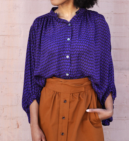 No.6 Amethyst Rust Deco Print Circle Blouse