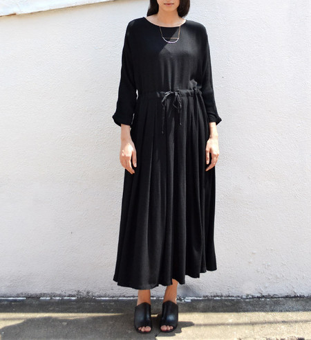 Black Crane Black Pleated Dress