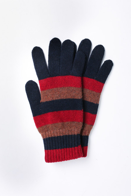 Men's Oliver Spencer Ola gloves in Caramel Multi