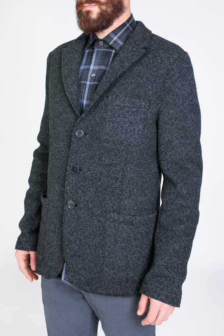 Men's Harris Wharf London Three Button Jacket in Anthracite