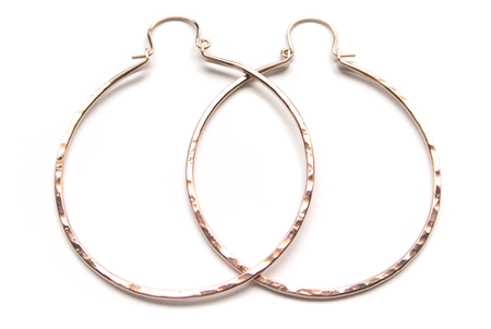 "Silversheep Jewelry 1.75"" Hammered Hoop"