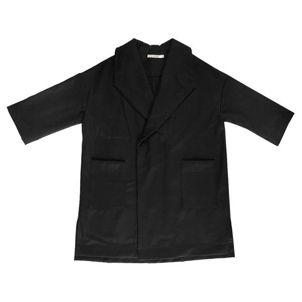WOOL KIMONO COAT - BLACK