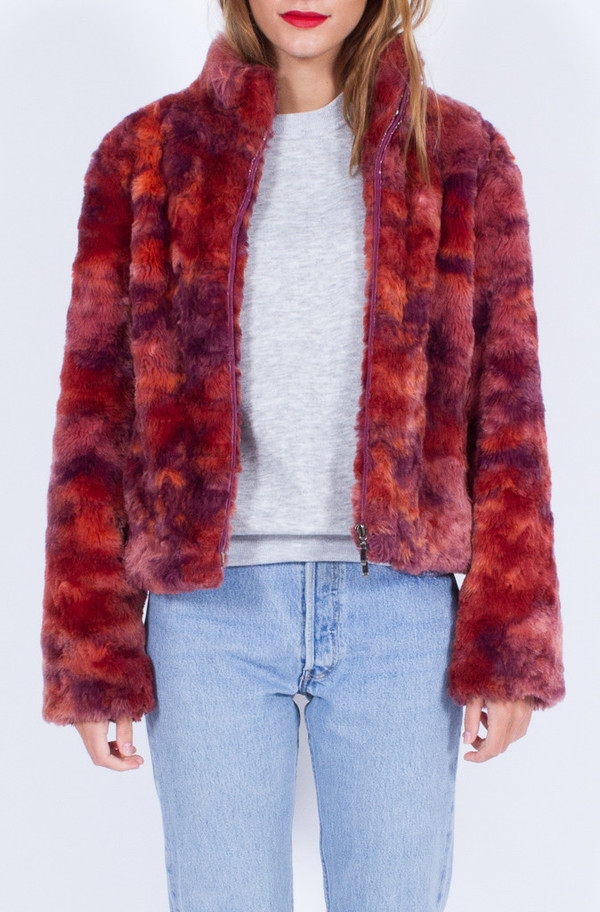 FAUX FUR RED JACKET (SMALL)