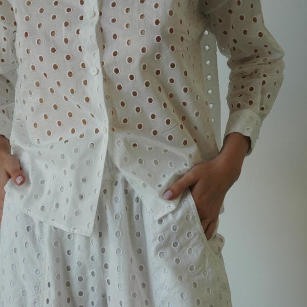 Nikki Chasin Ada Eyelet Buttondown - White