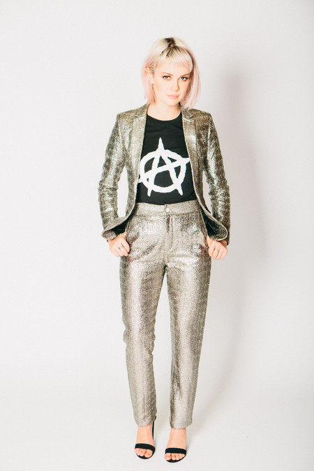 Any Old Iron Silver Metallic Wool Suit