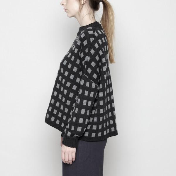 7115 by Szeki Mock-Neck Merino Plaid Sweater - Charcoal + Beige FW16