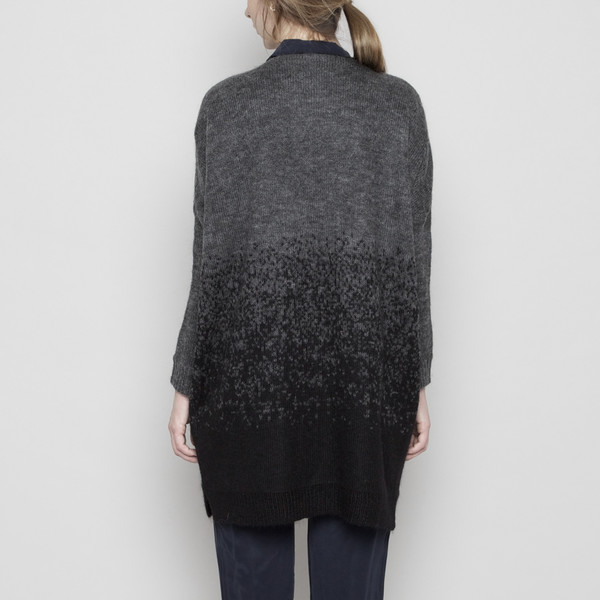 7115 by Szeki Mohair Gradient Long Cardigan - Black + Gray FW16