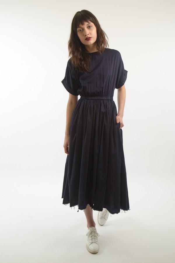 Black Crane Pleats Dress