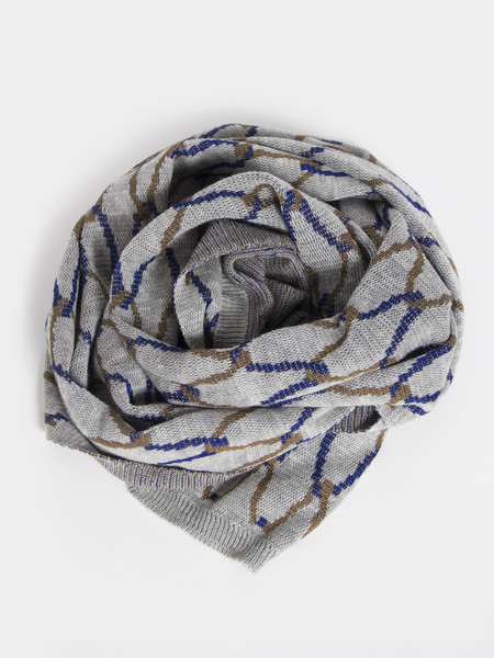 Reality Studio Net Plaid Scarf Grey