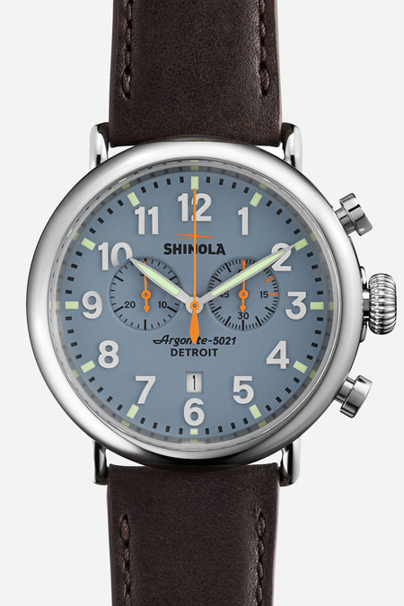 Shinola The Runwell chrono 41mm in blue & brown