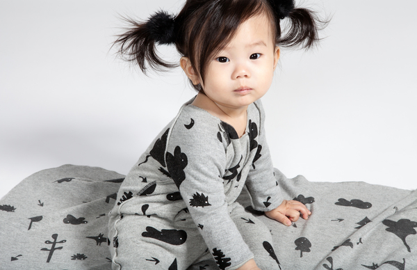 OMAMImini Heather Grey Baby One-Piece with Secret Forest Print