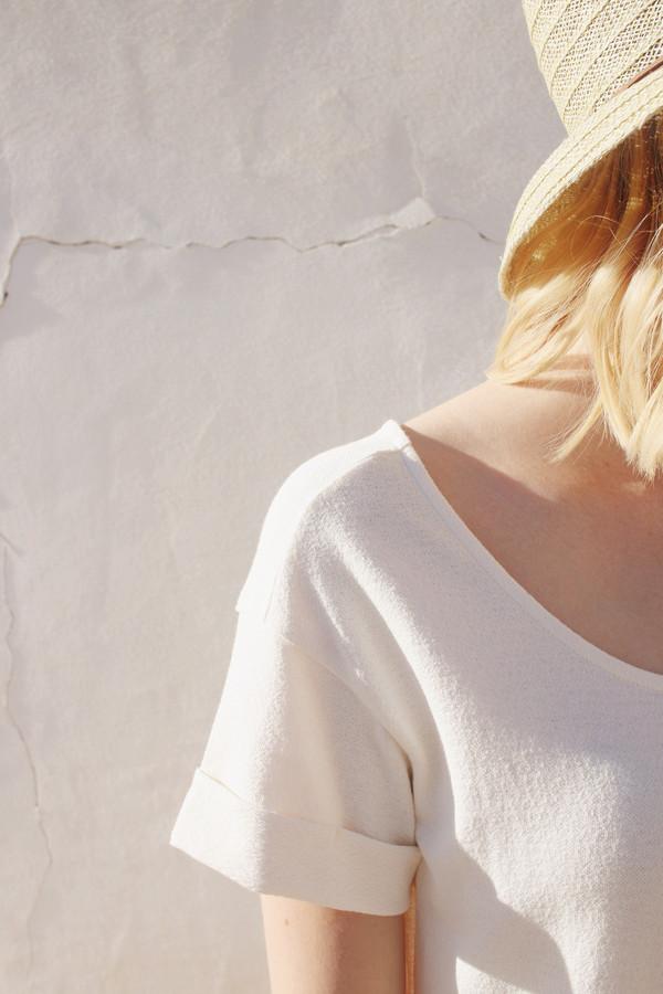 Roll Sleeve T-Shirt Dress in Cream
