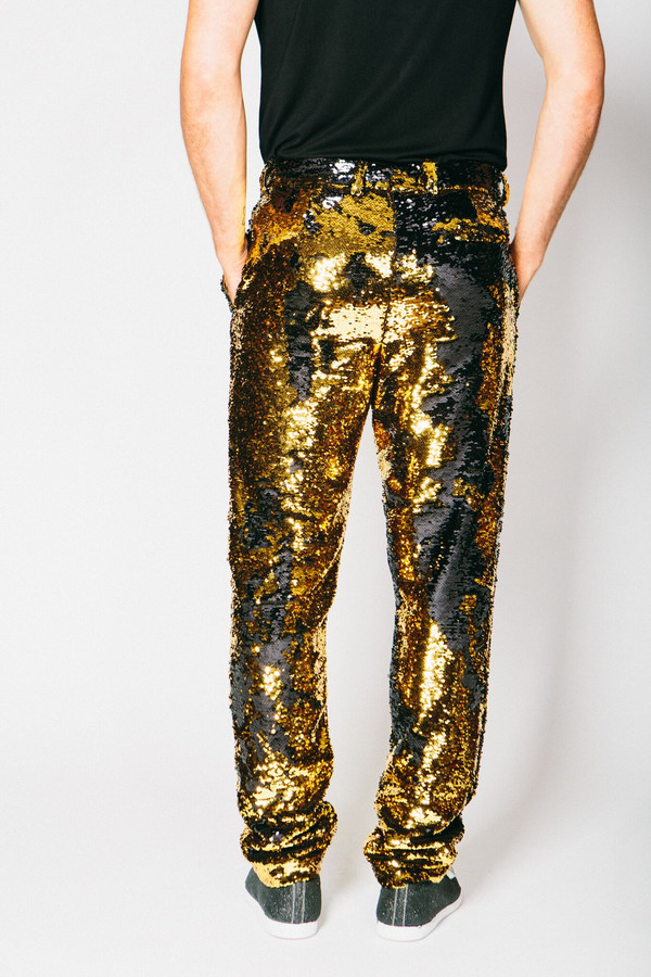 Men's Any Old Iron Gold/Black Sequin Trousers