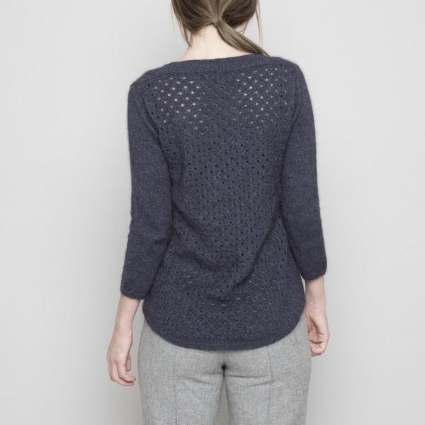 7115 by Szeki Angora Peephole Sweater - Navy FW16