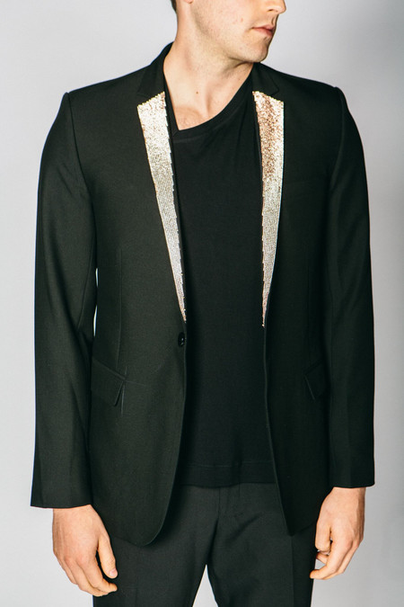Men's Any Old Iron Rose Gold Diamanté Lapel Blazer