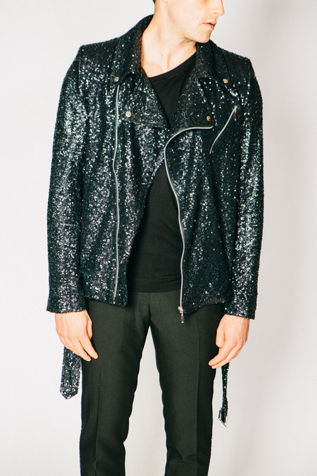 Men's Any Old Iron Sequin Biker Jacket