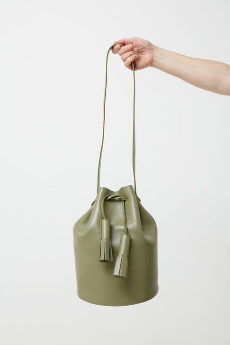 Building Block Bucket - olive leather