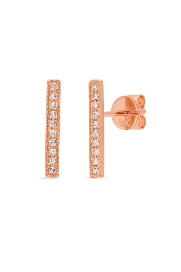 Sachi Jewelry Long Bar Studs - 14k Rose Gold
