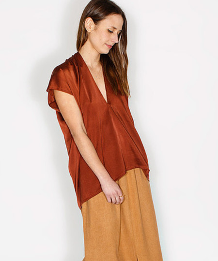 Miranda Bennett Claret Silk Charmeuse Everyday Top
