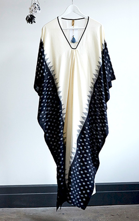 Two New York Ikat caftan with black border