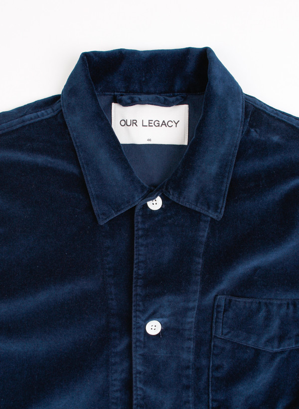 Men's Our Legacy Box Shirt Navy Velvet