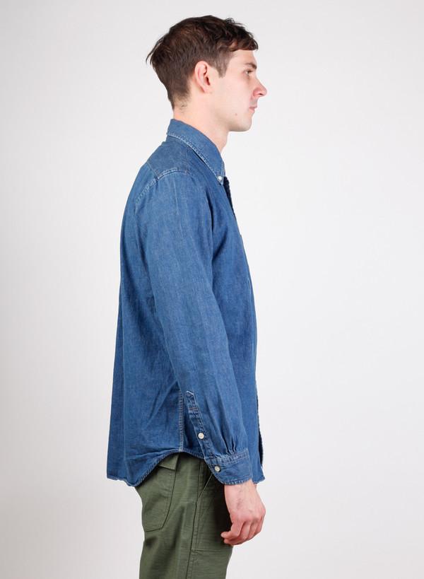 Men's Orslow Button Down Shirt Denim 2 Year Wash