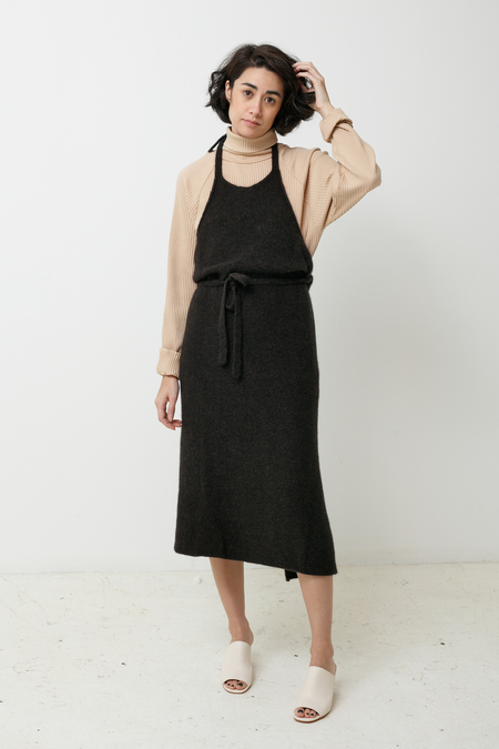 BaseRange Knit Apron Dress - black melange