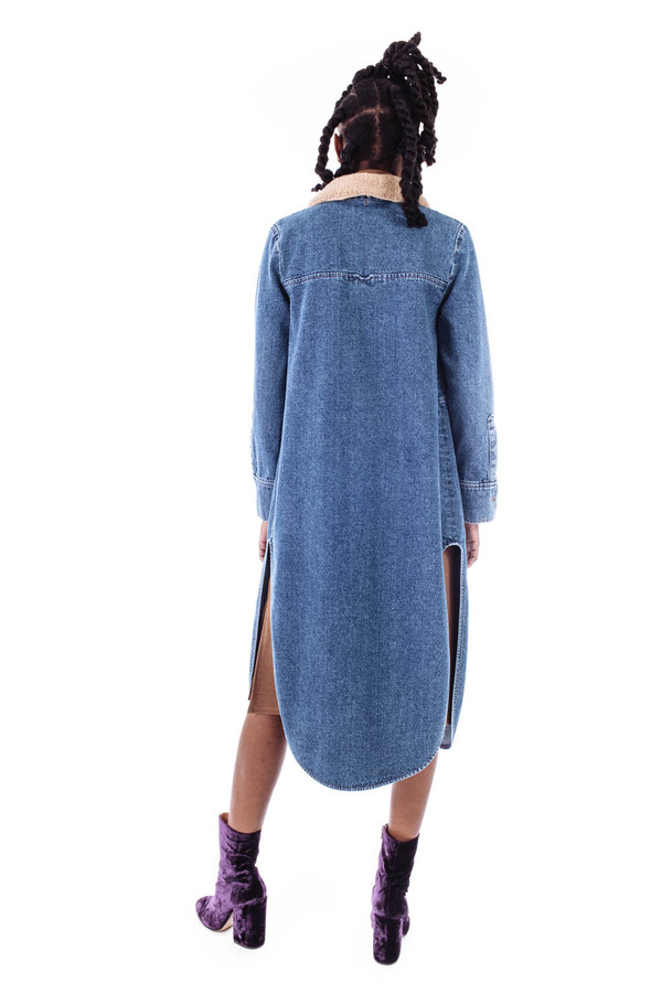 Nanushka Solo Long Denim Shirt Jacket