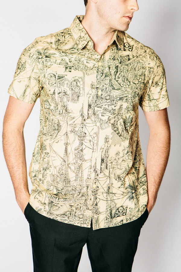 Men's Any Old Iron Pirate Skeleton Short-Sleeve Button Up