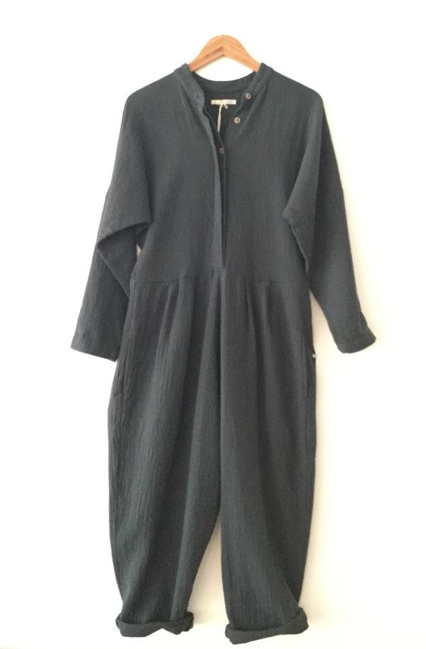 Black Crane Quilted Jumpsuit - Black