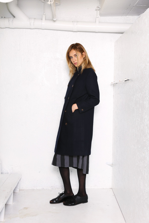 Intentionally Blank HOUSTON military coat Navy wool