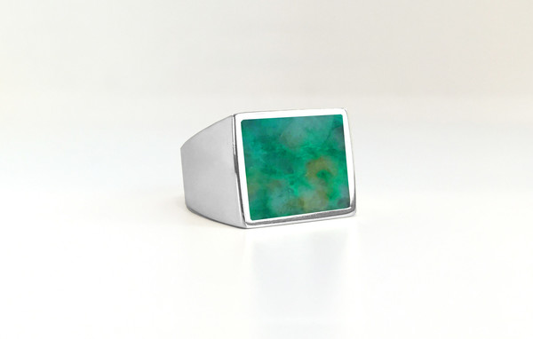 Legier Chrysocolla+Malachite+Azurite Stone Signet Ring