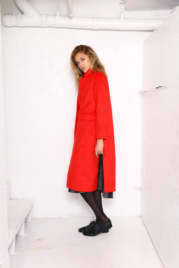 Intentionally Blank LEIF car coat in Red